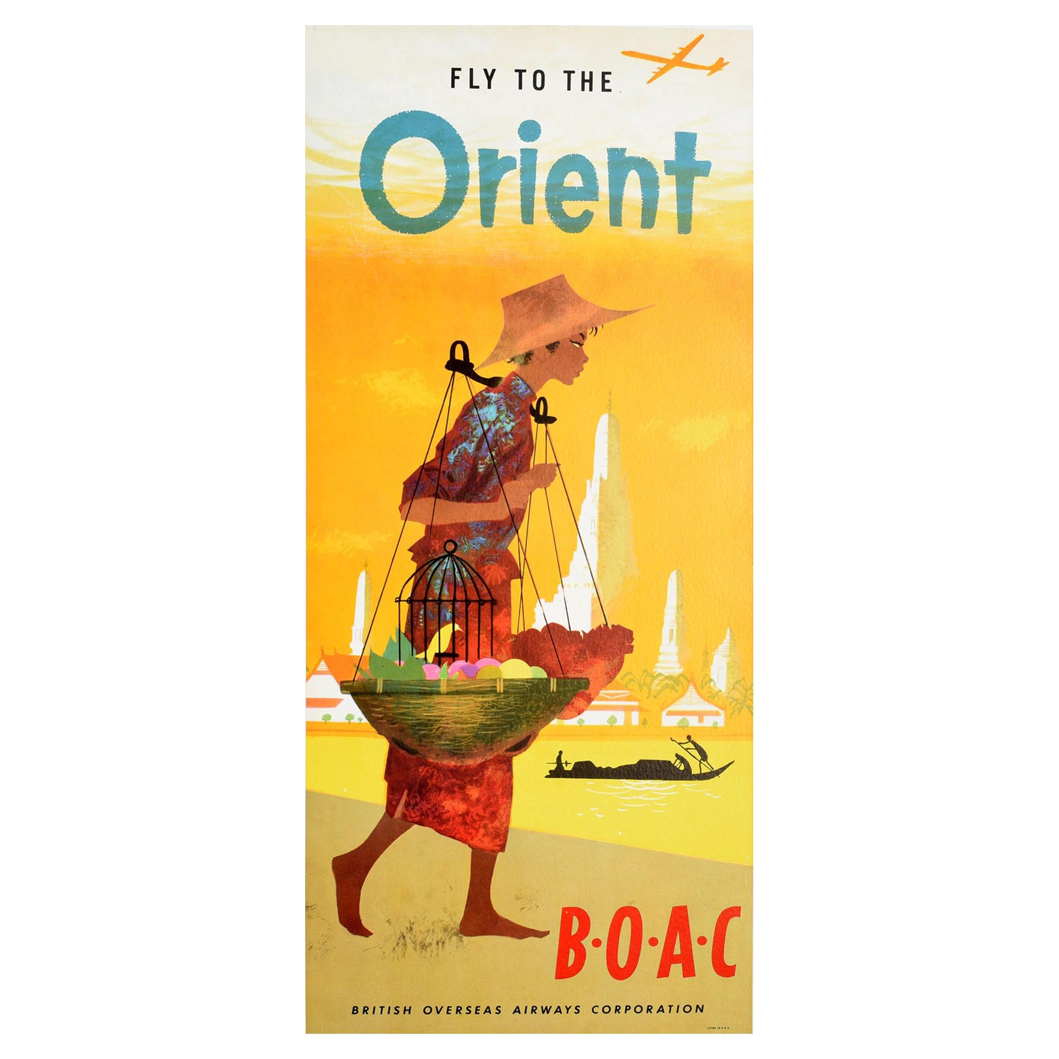 Original Vintage Poster Fly To The Orient BOAC Airline Aviation Asia Travel Art