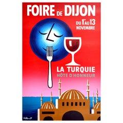 Original Vintage Poster Foire De Dijon Food Fair La Turquie Hote dHonneur Turkey