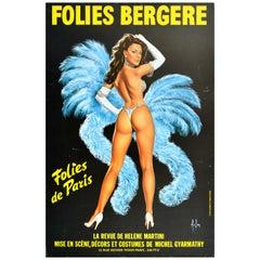 Original Vintage Poster Folies Bergère Paris Cabaret Showgirl Art Helene Martini