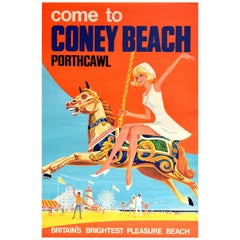 Original Vintage Poster for Coney Beach Porthcawl Wales Fairground Pleasure Park