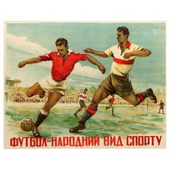 Original Vintage Poster For Football - National Sport Ukraine Ft. Football Match