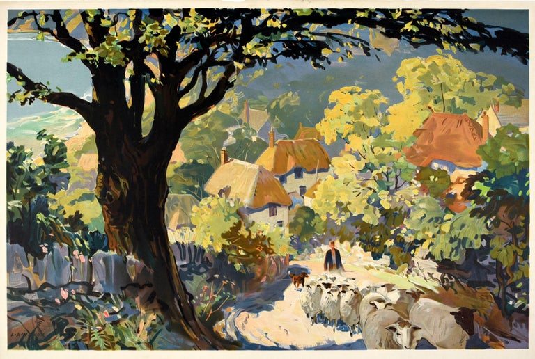 Original vintage travel poster for Glorious Devon issued by British Railways featuring great artwork by the notable British artist Leslie Arthur Wilcox (1904-1982) depicting a colourful countryside landscape with a shepherd and his dog walking up a