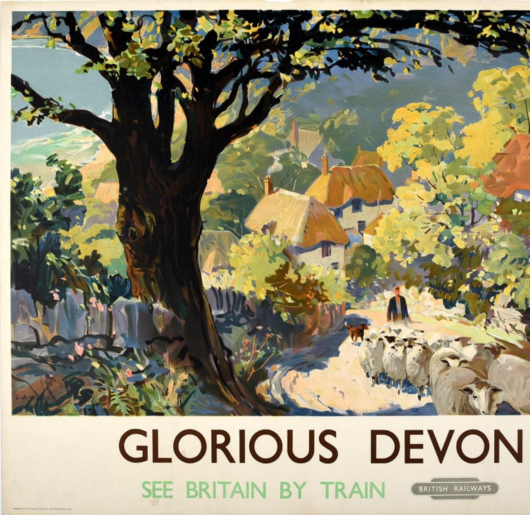 Original Vintage Poster for Glorious Devon British Railways See Britain By Train In Good Condition For Sale In London, GB
