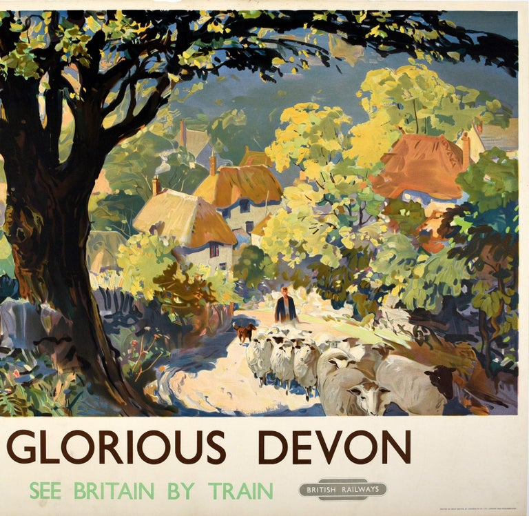 Mid-20th Century Original Vintage Poster for Glorious Devon British Railways See Britain By Train For Sale
