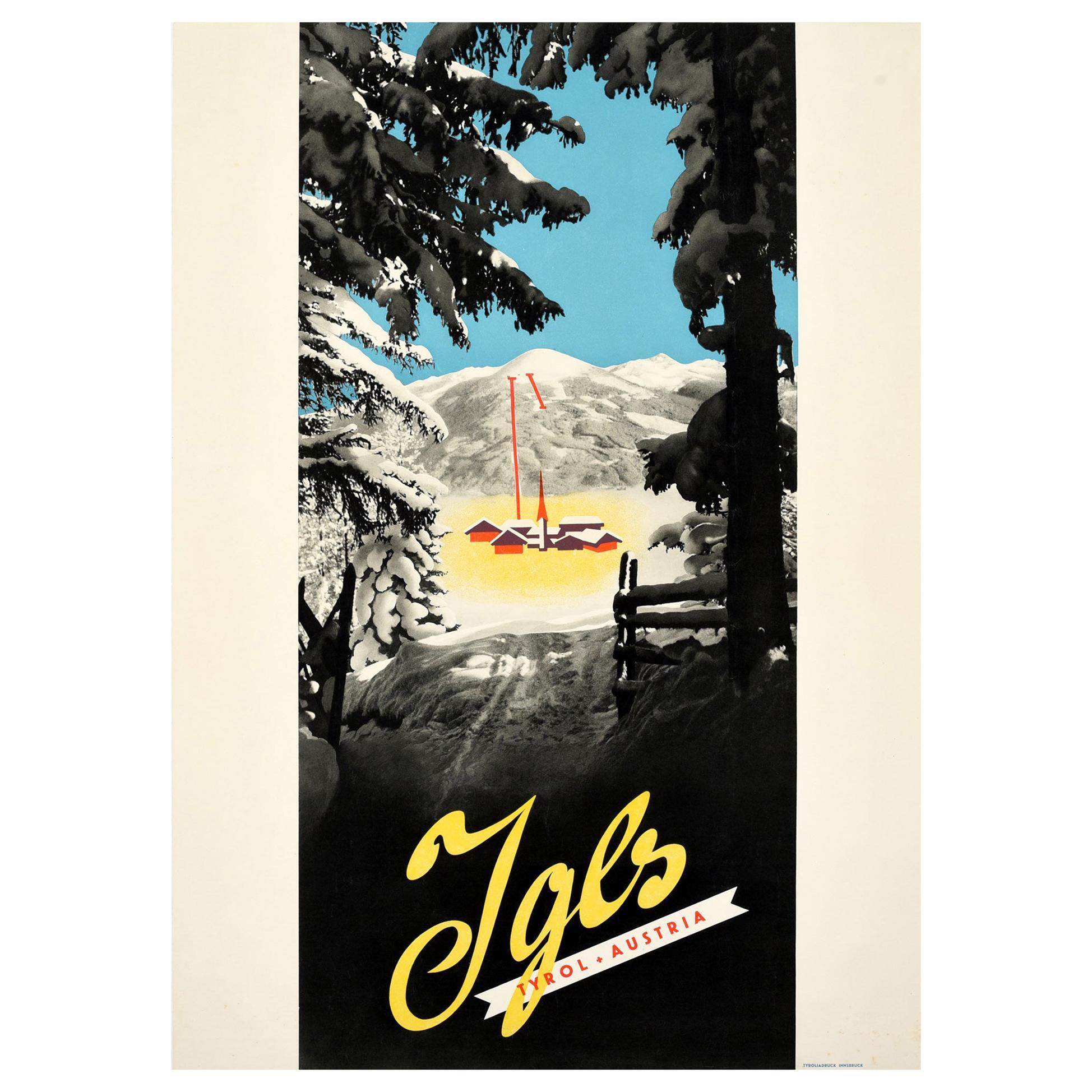 Original Vintage Poster For Igls Tyrol Austria Winter Sport Skiing Mountain Alps
