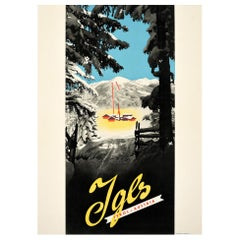 Original Vintage Poster For Igls Tyrol Austria Winter Sport Skiing Mountain Alps