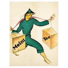 Original Vintage Poster For Julius Meinl Tee Asia Tea Drink Advertising Design