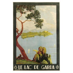 Original Vintage Poster For Le Lac De Garda ENIT Travel Sailing Italy Lake Garda