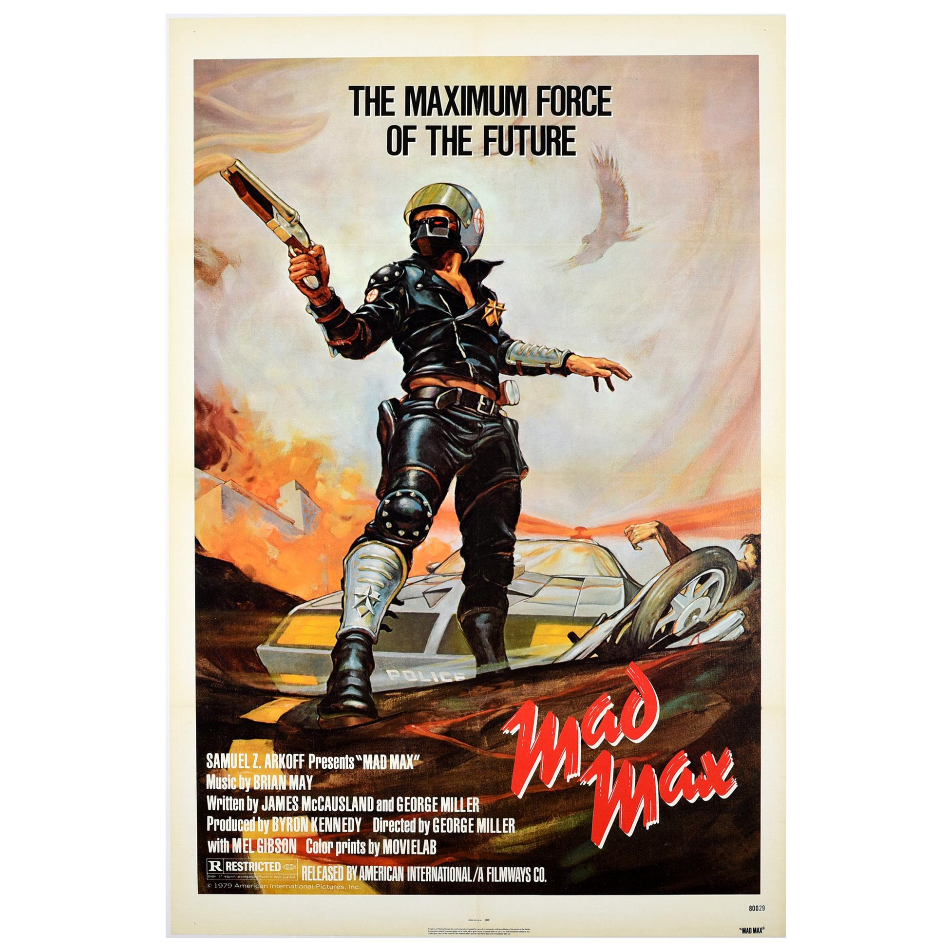 Original Vintage Poster For Mad Max Cult Movie Futuristic Sci-Fi Film Mel Gibson