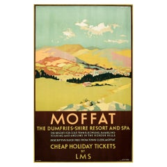 Original Vintage Poster For Moffat Dumfries Scotland Spa Golf LMS Railway Travel