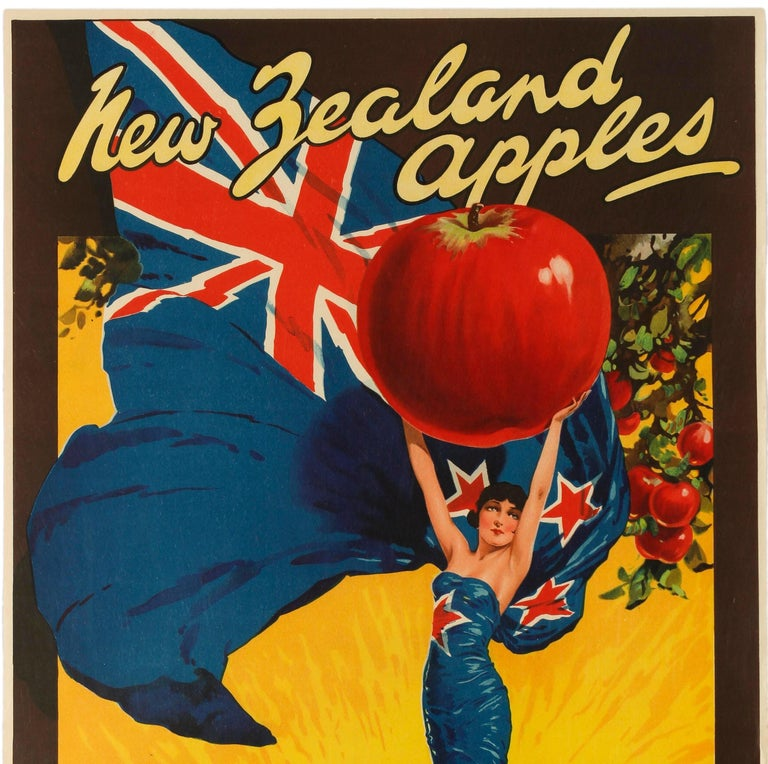 Original vintage British Empire trade advertising poster for New Zealand Apples featuring a colourful design depicting a young lady wrapped in a New Zealand flag and holding up a large red apple against a sunny yellow background with an apple tree