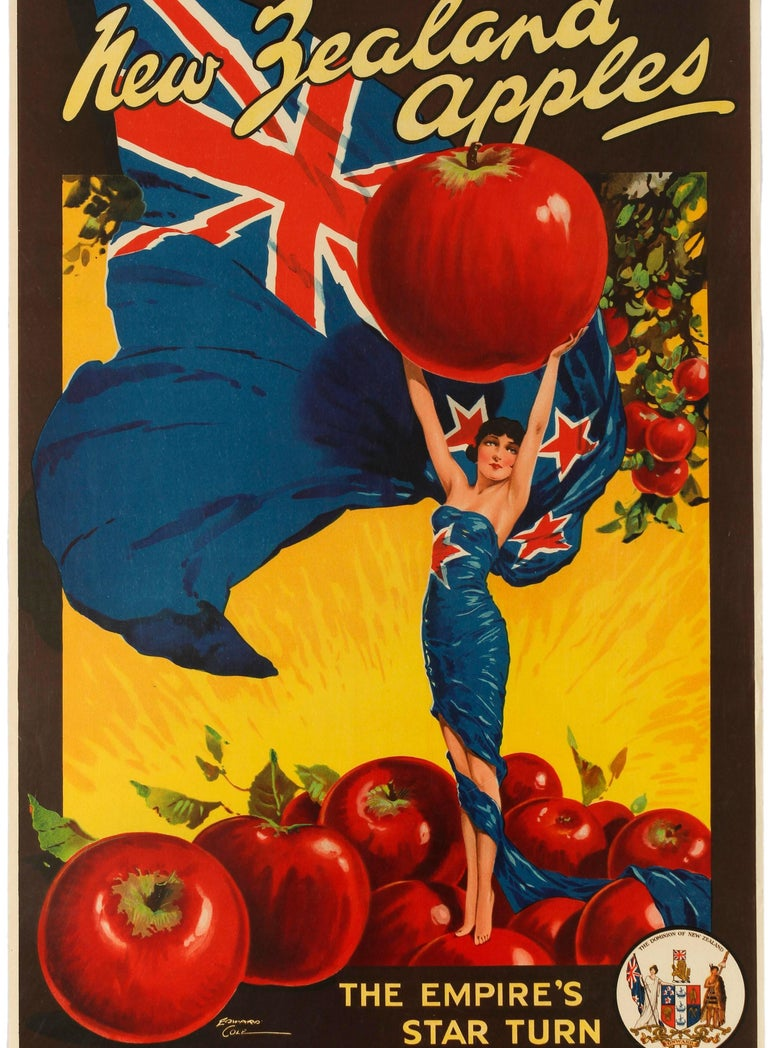 Mid-20th Century Original Vintage Poster For New Zealand Apples British Empire Trade Commonwealth For Sale
