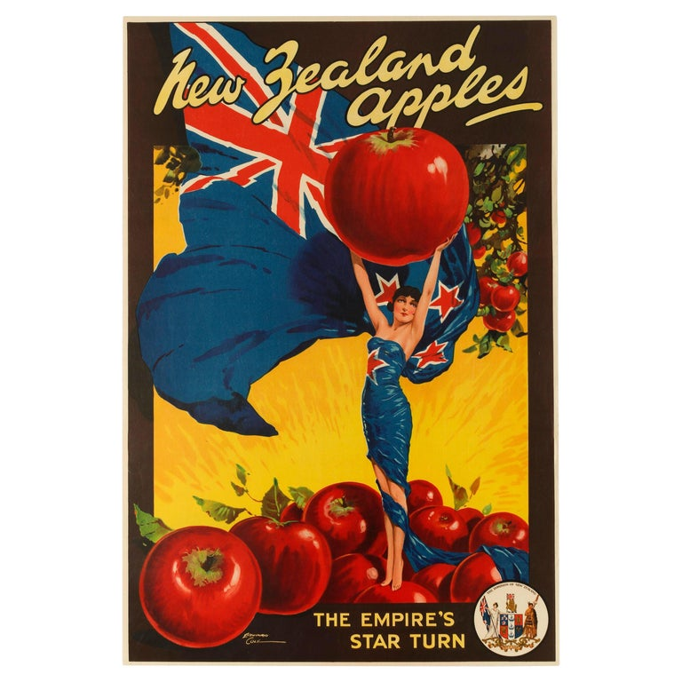 Original Vintage Poster For New Zealand Apples British Empire Trade Commonwealth For Sale