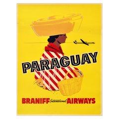 Original Vintage Poster For Paraguay Braniff Airways South America Travel Design