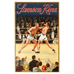 Original Vintage Poster For Samson Kina Aperitif Drink Boxing Ring Sport Design
