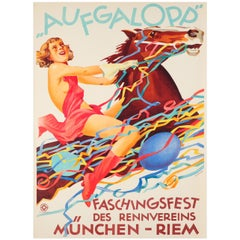 Original Vintage Poster for the Aufgalopp Faschingsfest Carnival Munich Ft Horse