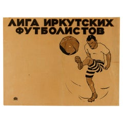 Original Vintage Poster For The Irkutsk Football League In Siberia Russia Sport