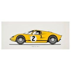 Original Vintage Poster Ford GT MK 2 Racing Car Motor Sport 24 Hours Le Mans Win