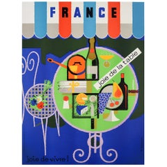 Original Vintage Poster France Joie De La Table Joie De Vivre French Wine & Food