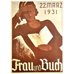 Original Vintage Poster Frau Und Buch Lady Reading A Book Art Deco 22 March 1931