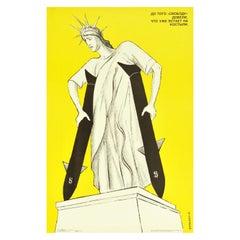 Original Vintage Poster Freedom USD Missiles Statue Of Liberty USSR Propaganda