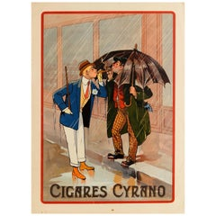 Original Vintage Poster French Advertising Cigares Cyrano Cigar Smoking Tobacco