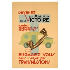Original Vintage Poster French Army Signal Corps Radio Telephone Communications