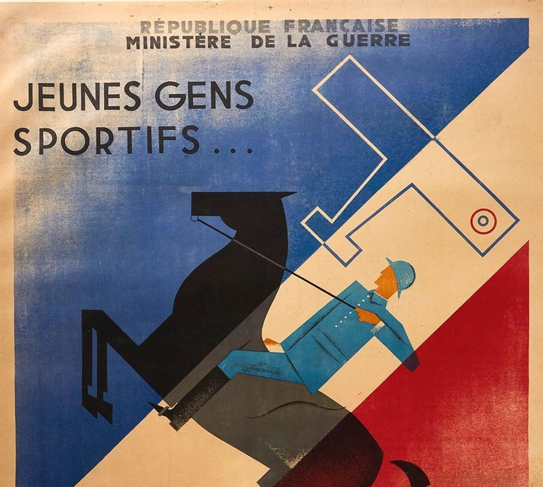 Original vintage military recruitment poster published by the French Ministry of War Republique Francais Ministere de la Guerre, Jeunes Gens Sportifs Engagez-vous dans l'Armee Francaise / Young Sporty People Join the French Army - featuring a