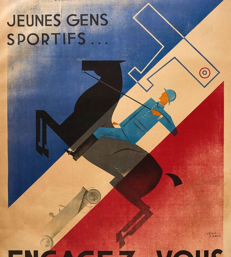Mid-20th Century Original Vintage Poster French Army Soldier Sport Art Deco Horse Car Plane Flag For Sale