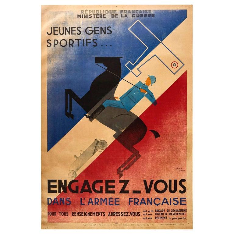 Original Vintage Poster French Army Soldier Sport Art Deco Horse Car Plane Flag For Sale