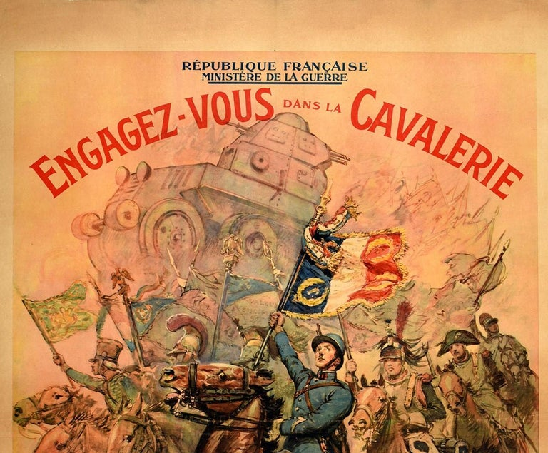 Original vintage French military recruitment poster encouraging men to join or rejoin the Cavalry - Engagez Vous Dans La Cavalerie. Colourful dynamic design by the French war correspondent and illustrator Georges Scott (1873-1943) featuring a modern
