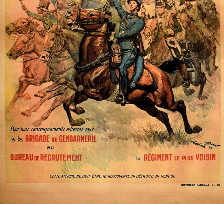 Original Vintage Poster French Military Recruitment Cavalry Regiment Cavalerie In Good Condition For Sale In London, GB
