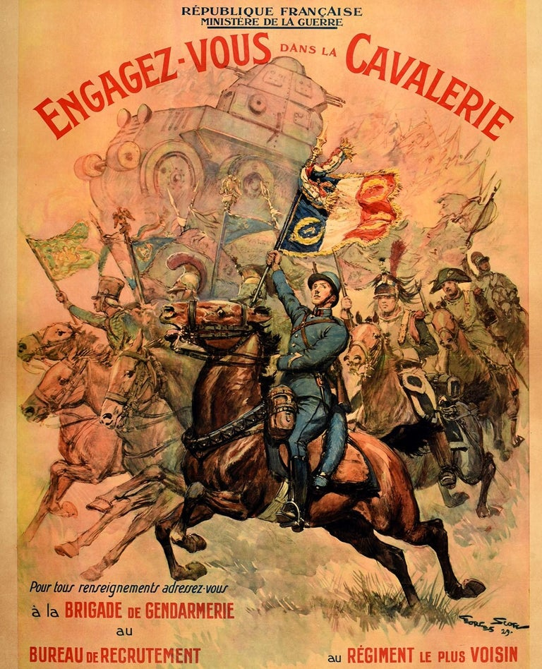 Mid-20th Century Original Vintage Poster French Military Recruitment Cavalry Regiment Cavalerie For Sale