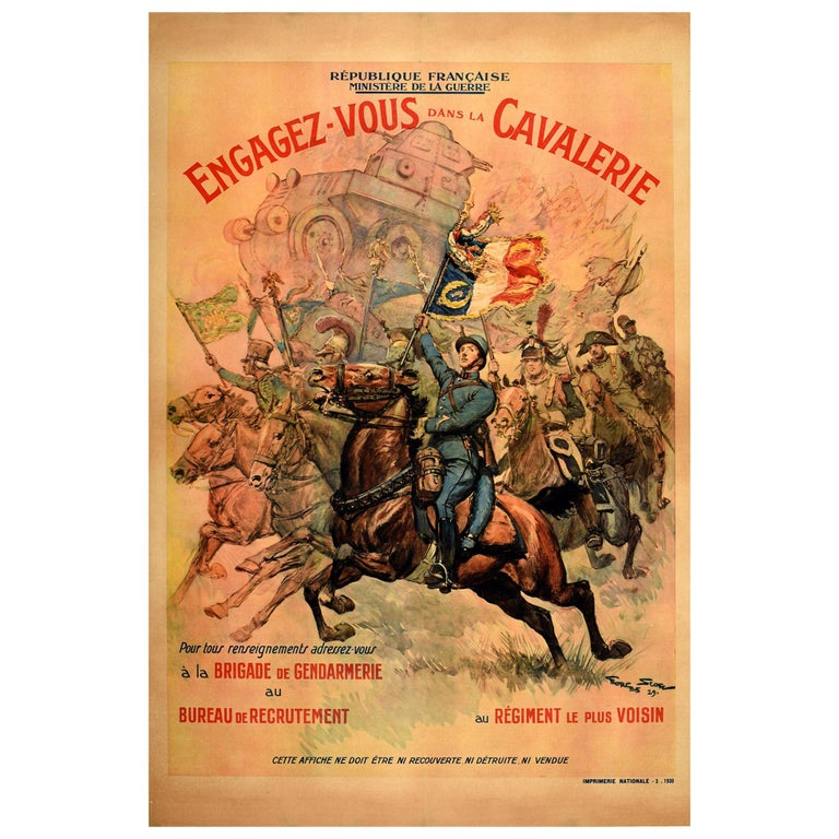 Original Vintage Poster French Military Recruitment Cavalry Regiment Cavalerie For Sale