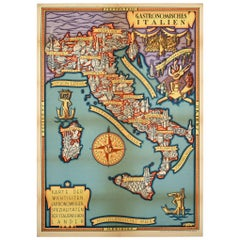 Original Vintage Poster Gastronomisches Italien Illustrated Map Food Wine Italy