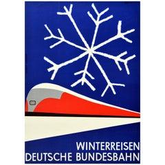 Original Vintage Poster German Federal Railways Winter Travel Mid-Century Modern