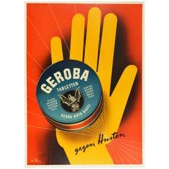 Original Vintage Poster Geroba Tabletten Cough Lozenges Health Graphic Design