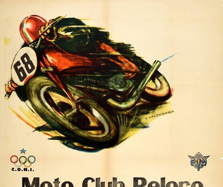 Original vintage motor sport poster for The Riviera dei Fiori Tour National Regularity Race at the Peloro motorcycle club in Messina on 17 May 1959 - Il Giro Riviera dei Fiori Gara Nazionale di Regolarita Moto Club Peloro Messina 17 Maggio 1959 -