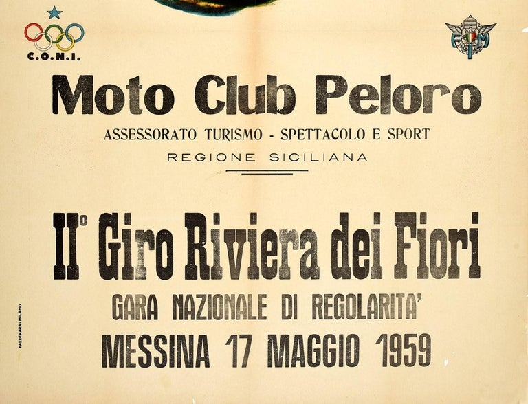 Italian Original Vintage Poster Giro Riviera Dei Fiori Moto Club Peloro Motorcycle Race For Sale