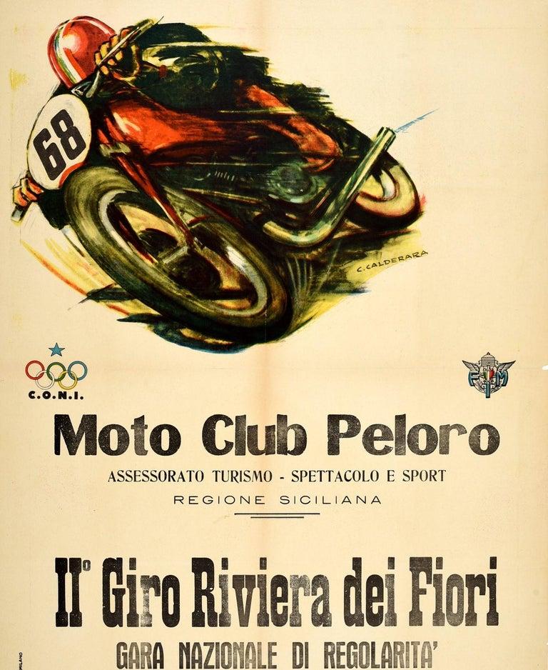 Original Vintage Poster Giro Riviera Dei Fiori Moto Club Peloro Motorcycle Race In Fair Condition For Sale In London, GB