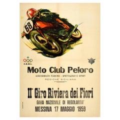 Original Vintage Poster Giro Riviera Dei Fiori Moto Club Peloro Motorcycle Race