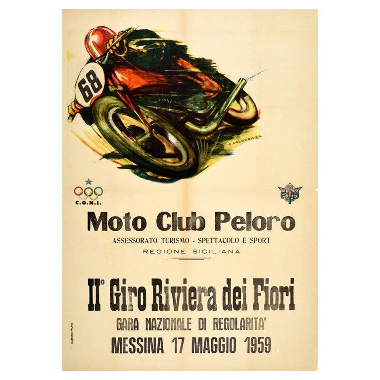 Original Vintage Poster Giro Riviera Dei Fiori Moto Club Peloro Motorcycle Race For Sale