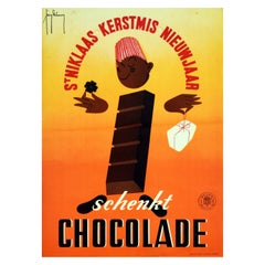 Original Vintage Poster Give Chocolate Gift Christmas New Year Midcentury Design