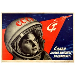 Original Vintage Poster Glory To The First Woman Cosmonaut Valentina Tereshkova
