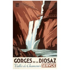 Original Vintage Poster Gorges De La Diosaz Vallee De Chamonix Servox PLM Travel