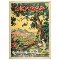 Original Vintage Poster Grasse Station Climatique Health Resort Riviera Travel