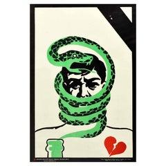 Original Vintage Poster Green Serpent Vodka Anti Alcoholism USSR Health Campaign