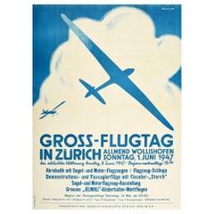 Original Vintage Poster Gross Flugtag In Zurich Flight Day Glider Plane Aviation