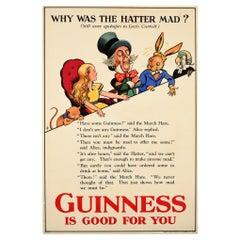 Original Vintage Poster Guinness Is Good For You Alice In Wonderland Mad Hatter