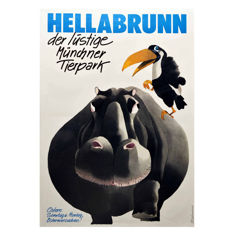Original Vintage Poster Hellabrunn Tierpark The Fun Munich Zoo Hippo Toucan Bird